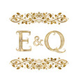 e and q vintage initials logo symbol vector image vector image