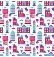 Flat city houses seamless colorful pattern