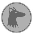 fox head silver coin vector image vector image
