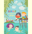 happy children swimming on river and fishing vector image