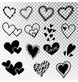 Hearts hand drawn set isolated design elements
