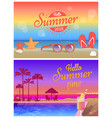 hello summer time commercial bright banners set vector image vector image