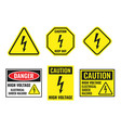 high voltage sign set danger electricity icons vector image