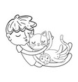 little boy with cat kawaii character vector image vector image