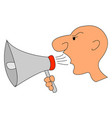 man screaming in megaphone on white background vector image