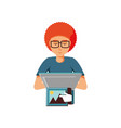 man sending picture with laptop computer vector image vector image