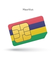 Mauritius mobile phone sim card with flag vector image