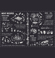 meat dishes recipes chalk drawing design vector image