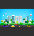 modern city with road traffic cartoon style 3d vector image