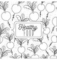 monochrome poster of healthy food with background vector image vector image