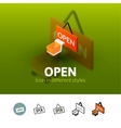 Open icon in different style vector image vector image