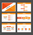 Orange red presentation templates Infographic set vector image vector image