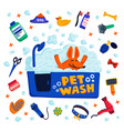pet grooming concept happy dog in a bath with vector image vector image