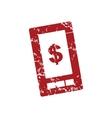 Red grunge dollar phone logo vector image