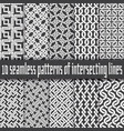 seamless pattern white lines on black backgrounds vector image