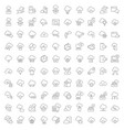 set line icons cloud services vector image