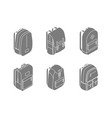 set of backpacks isometric icons in 3d design vector image