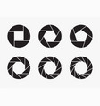 set of black camera lens aperture icons vector image
