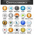 set of cryptocurrency icon vector image vector image