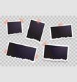 set of torn photo frames hanging on transparent vector image vector image