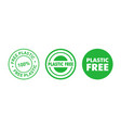 set plastic free green badges eco friendly vector image