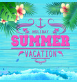 summer poster on blue wooden background vector image vector image