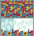 Two backgrounds with colorful houses vector image vector image