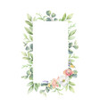 watercolor frame green branches vector image