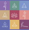 yoga icons color vector image vector image