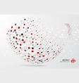 abstract 3d halftone dots patter red black and vector image vector image