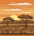 african landscape sunset savannah nature trees vector image