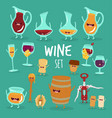 animated wine set vector image vector image