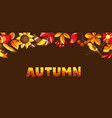 autumn background with seasonal leaves and items vector image