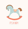 baby shower invitation it s a boy cute toy horse vector image vector image
