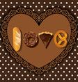 bake goods in word of love shape vector image