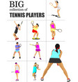 big collection of tennis players colored for vector image vector image