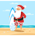 cartoon style of Santa surfer vector image vector image