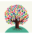 Colorful solidarity hands tree vector image vector image