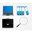 Computer Briefcase Magnifying Glass Folders vector image vector image