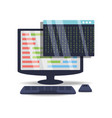 computer with programmig coding on screen vector image vector image