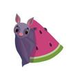 cute bat with piece watermelon funny creature vector image vector image