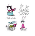 cute cartoon bunny and kitten funny hare and cat vector image vector image