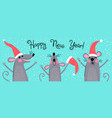 cute gray rats in santas hats wishes happy new vector image vector image