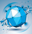 dimensional wireframe blue object with radiance vector image vector image