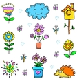 Doodle of spring flower item set vector image vector image