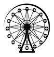 ferris wheel silhouette from amusement park vector image vector image