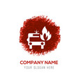 firefighters truck icon - red watercolor circle vector image
