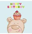 happy birthday card - babear with cupcake vector image vector image