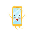 happy humanized mobile phone in jumping action vector image vector image