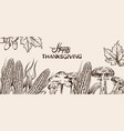 happy thanksgiving card line art corn autumn vector image vector image